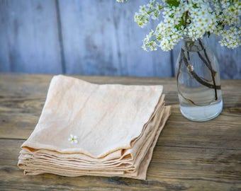 Sand colour linen cloth napkins. Set of 4, 6, 8, 10. Handmade, stone washed linen napkins.
