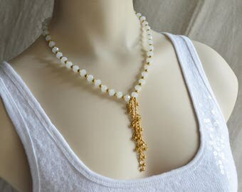 White Faceted Czech Crystal Gold tone beads Drop Necklace