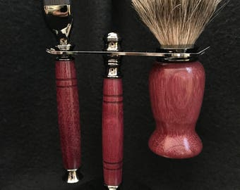 Shaving set made from Purple Heart wood with a gun metal finish