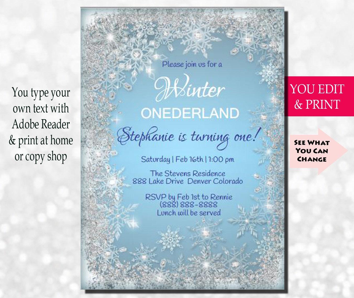 Winter Onederland Invitation Winter Onederland Birthday