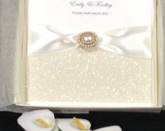 Hand made wedding invitation. Boxed invitation