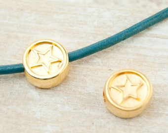 2pcs. bead star gold plated 10mm #4506