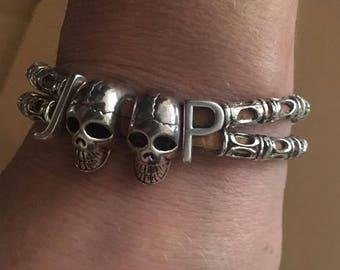 Handmade Leather and Skull Jeep Bracelet, jeep leather bracelet, skull Jeep bracelet,  skeleton Jeep bracelet, jeep letter bracelet