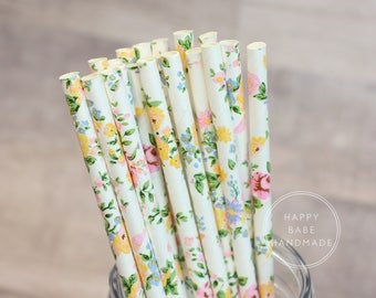 Floral Straws, 25 Pack, Spring Floral, Drinking Straws, Paper Straws, Yellow Pink Green, Wedding Straws, Party Straws, Tea Party Decor