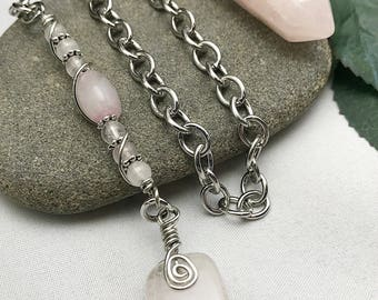 Rose Quartz Point Beaded Pendulum ~ FREE SHIPPING