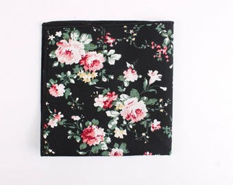 Black Floral Pocket Square
