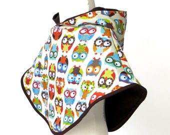 owl poncho cotton with fleece lining