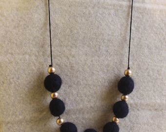 Black Felted Necklace With Black Beads Inter-Spaced With Small Gold Beads
