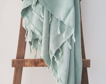 Mint Fouta Towel - UltraSoft Big Towel - Beach Blanket - Stonewashed Towel with Tassels - Swaddle Blanket -Cotton Bath Towel - Travel Throw