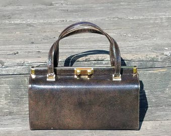 "Stylish Chocolate brown stuctured Kelly top handle box purse handbag mod/pin up/50's designer ""TRIANGLE"" N.Y handbag"