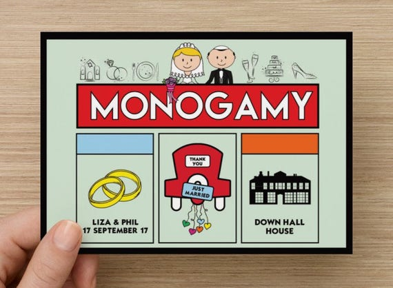 Personalised Wedding Thank you postcards (Monogamy / Monopoly Theme)