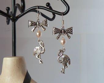 pink flamingo earrings rockabilly boucles d'oreilles flamand rose pinup tattoo