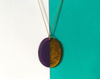 Geometric Glass Gem | Large Oval Pendant Necklace | Purple • Gold