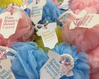 Baby Shower Favor Bath Poufs and Tags