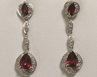 Vintage 14K White Gold Red Garnet And Diamond Drop Dangle Earrings