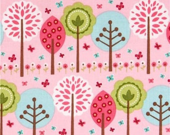 Pink Trees by Riley Blake,  Pink Blue Green Flower Fabric
