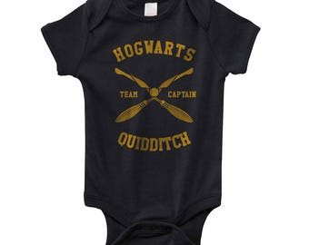 CAPTAIN - Hgwrts Quidditch team Captain Yellow on Infant Baby Rib Lap Shoulder Creeper Onesie