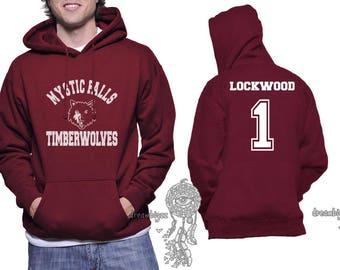 Lockwood 1 Mystic Falls Timberwolves white print printed on Unisex Hoodie Maroon