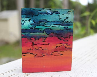 Abstract Sky Wood Block Painting (Blue/Red)