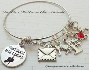 Gift for Mail Carrier, Gift for Postal Worker, Postal Worker Charm Bracelet, Thank you Mail Carrier Gift, Christmas Gift for Mail Carrier