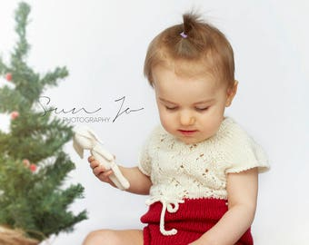 Photo prop Christmas knitted romper outfit baby girl sitter size