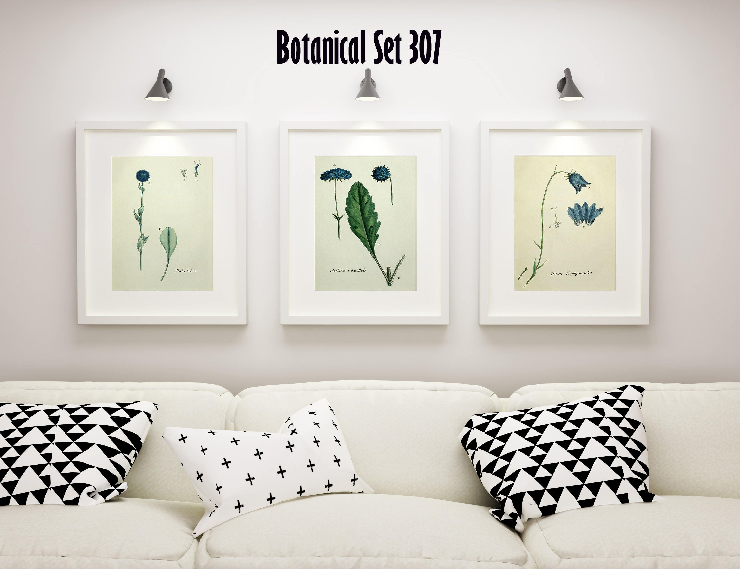 Blue Floral Botanical Wall Art Set Of 3 Prints Modern Farmhouse Decor Framed Housewarming Gift Bedroom