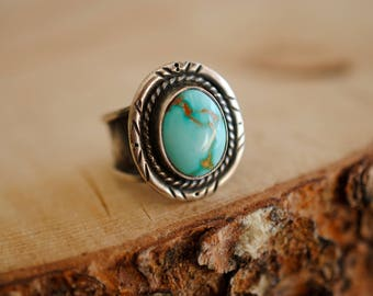 Western Turquoise Ring | Size 8 | Sterling Silver