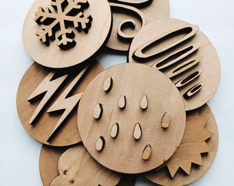 Weather playdough stamps- play stamps - playdough tools