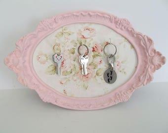 Shabby Chic Pink & White Ornate Key Holder