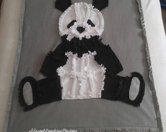 baby blankets, baby rag quilt, panda blanket, nursery decor, crib rag quilt, baby blankets, baby shower, baby playmat, toddler throw blanket