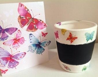 Butterfly Plant Pot - Blackboard Plant Pot - Herb Pot- Butterfly Herb Pot - Flower Pot - Decoupaged Pot - Butterfly Flower Pot