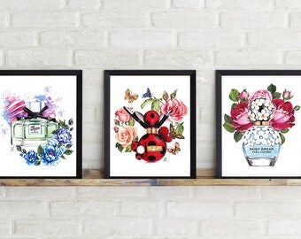 Perfume set of 3, set 3 fashion, Gucci perfume, Coco Noir Chanel, Marc Jacobs perfume, set 3 prints, watercolor set of 3, fashion set of 3