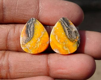 New year sale 19.85cts Bumblebee Pair natural Gemstone ,cabochon , smooth, pear  shape,  18x15x3mm  size, AM135