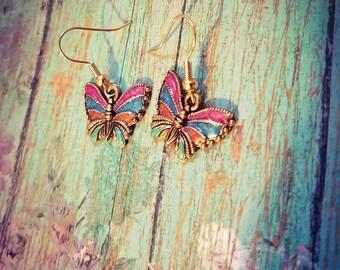 Butterfly charm earrings, butterfly jewelry