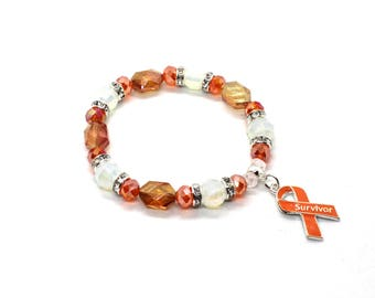Kidney Cancer - Leukemia Awarenss - Leukemia Awareness Gift - Leukemia Jewelry - Leukemia - Kidney Cancer Bracelet - Kidney Cancer Charm