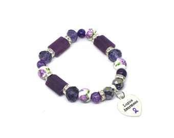 Lupus Awareness, Lupus Bracelet, Alzheimers Awareness, Fibromyalgia Jewelry, Lupus Warrior, Interstitial Cystitis, IC Awareness, Fibro Charm
