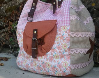 "PATCHWORK TOTE BAG ""LIFE IN PINK"""
