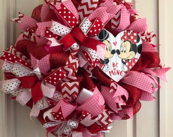 Handmade red valentines heart wreath