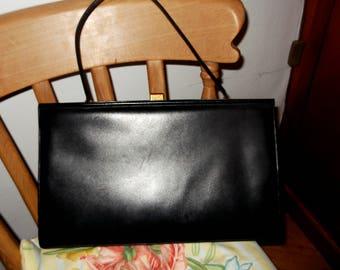 Designer Comtesse Black Leather Large Kelly Handbag - Handmade Vintage German