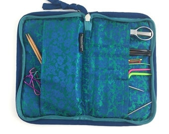 Lantern Moon Knit Aid Case, Knitting Tool Case Knitting Notions Bag, Tool Case, Knit Aid Case, Turquoise Knit Aid Case, Knitting Notions Bag