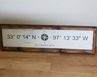 GPS Coordinates, Distressed, Farmhouse Style, Wooden Coordinates Sign, Hand Painted Wooden Sign
