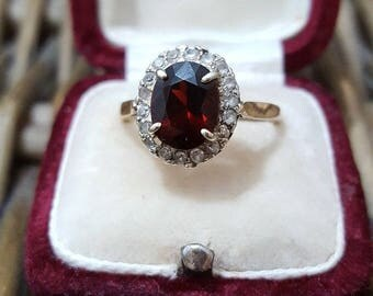 Vintage 9ct gold cluster ring, pyrope garnet & cz, size p, 9k 375 yellow gold
