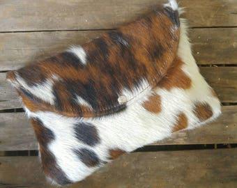 Tricolor cowhide clutch / large clutch