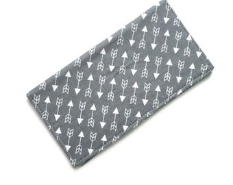 Checkbook cover, checkbook holder, wallet, receipt holder, gray arrow print