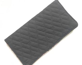Checkbook cover, checkbook holder, wallet, receipt holder, black, quilted, floral