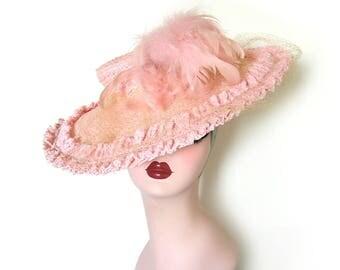 Vintage 1930's Light Pink Wide Brim Cartwheel Hat ~