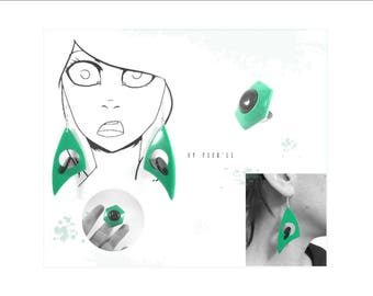 Set earrings and Mint green and black ring