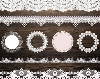 Digital lace clipart Pearl Lace clip art Doily Lace Border Clipart Wedding Clipart White Lace Overlay Lace Pearl Lace Embellishments Doilies