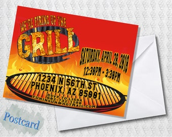 Backyard BBQ Grill Invitation; Folded Card; Postcard; PDF; E-Card