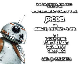 Star Wars BB8 - Personalised Children's Party Invitations -  Pack of 10